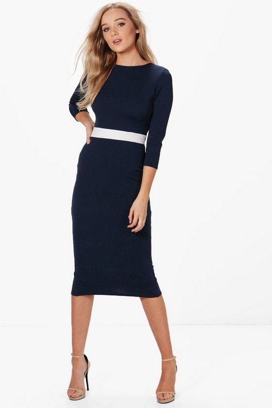 Louise Formal Waist Pleat Detail Midi Dress