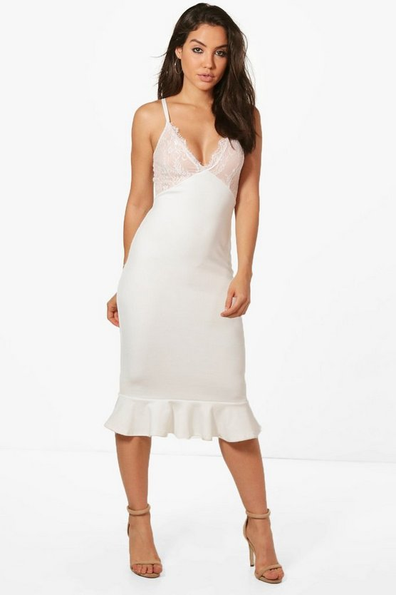 Katie Strappy Lace Midi Frill Hem Midi Dress