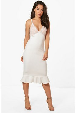 Womens Ivory Katie Strappy Lace Midi Frill Hem Midi Dress