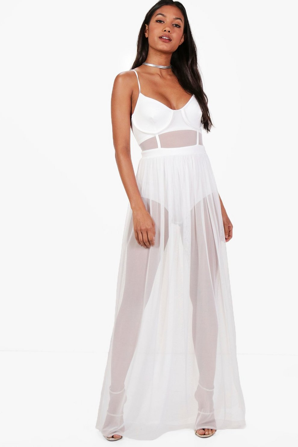 9422ea2ce05 Womens Ivory Trish Bustier Mesh Skirt Bodysuit Maxi Dress