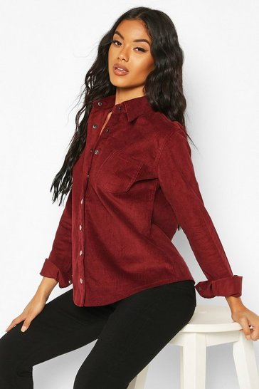 Womens Burgundy Oversized Cord Shirt
