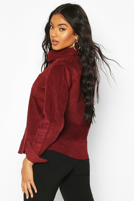 Cord Shirt Oversized Cord Oversized burgundy 8xxE6a