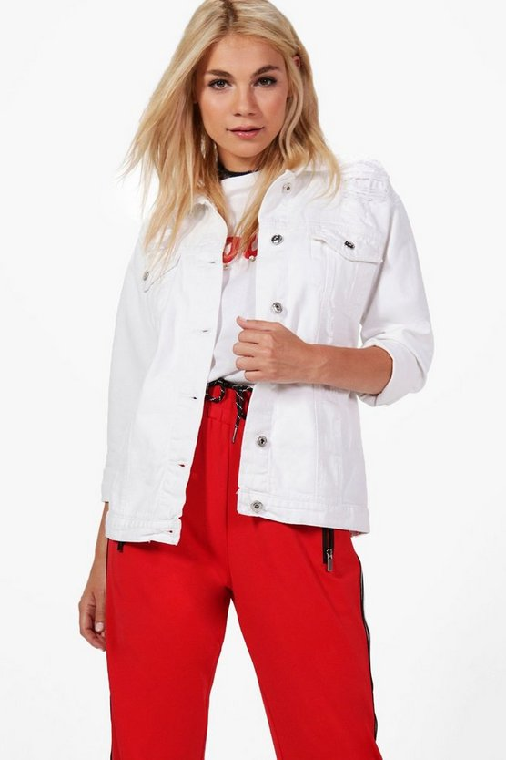 Regina Longline Oversized Denim Jacket, White, Donna