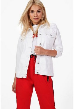 Womens White Regina Longline Oversized Denim Jacket