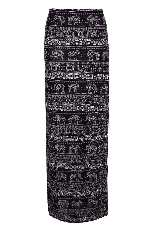 boohoo damen jovana maxirock mit elefanten print und. Black Bedroom Furniture Sets. Home Design Ideas