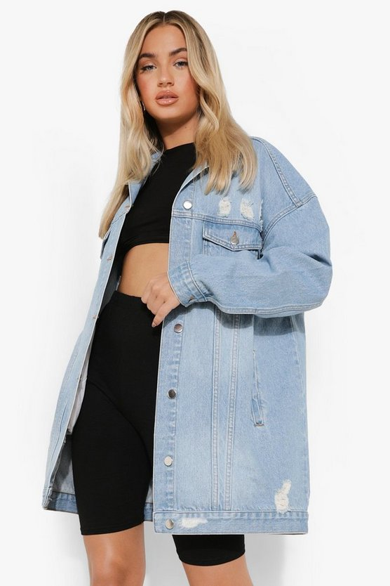 Distressed Longline Denim Jacket, Mid blue, Donna