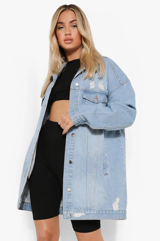 c047390fd6a Distressed Longline Denim Jacket. Womens Mid blue Distressed Longline Denim  Jacket