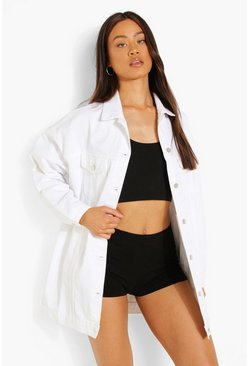 Womens White Distressed Longline Denim Jacket