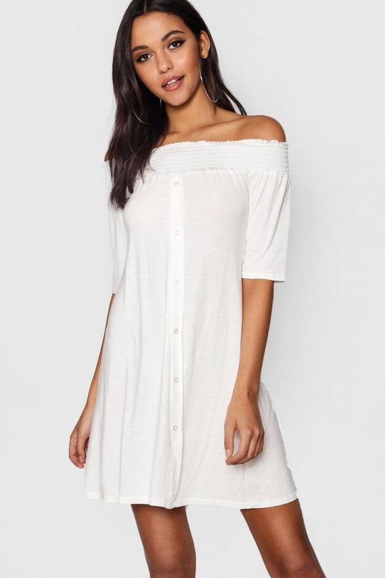 Off The Shoulder Shirring Button Shift Dress