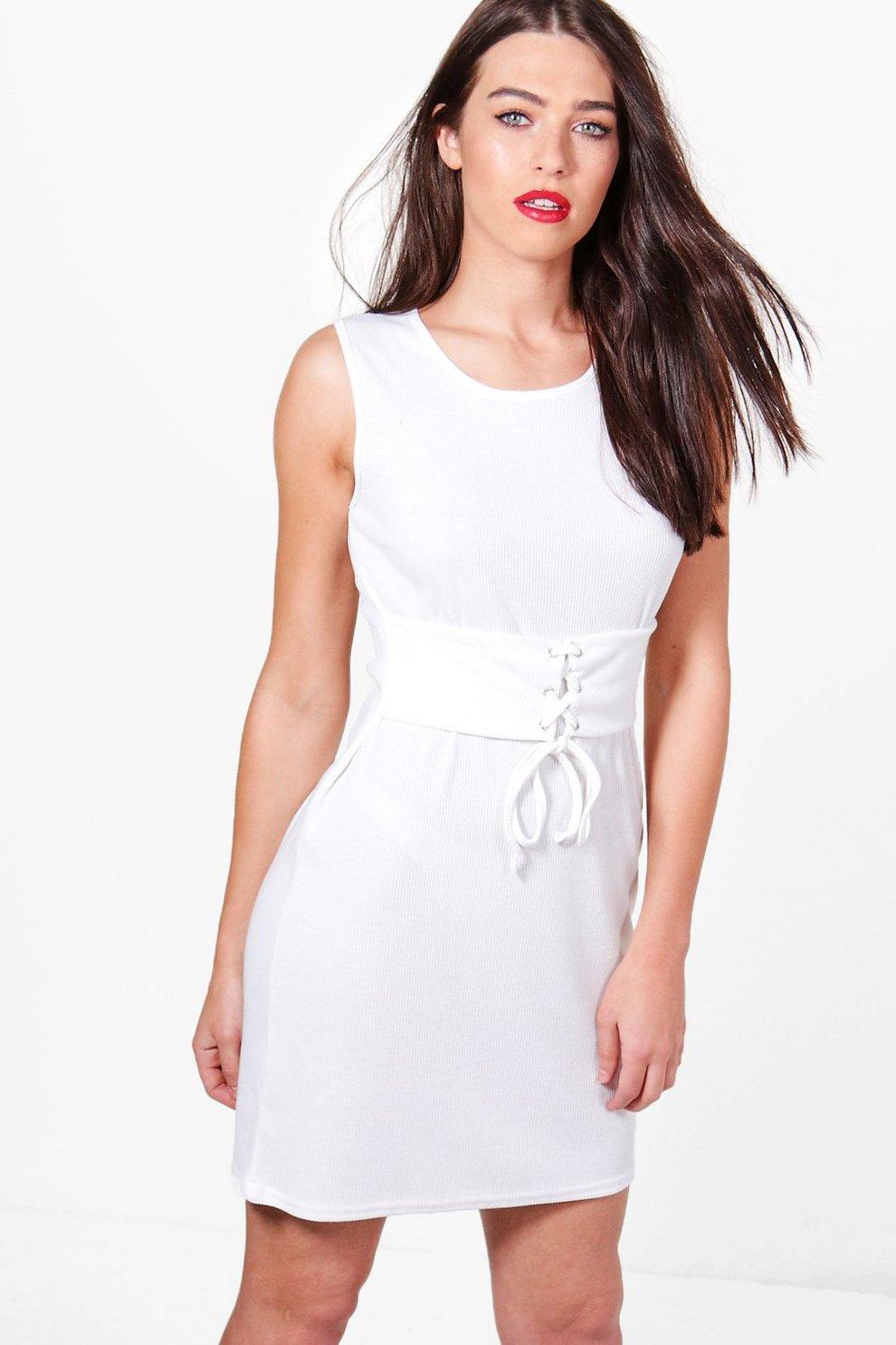 a58a73f681534 Sophie Rib Corset Belt Sleeveless Bodycon Dress | Boohoo