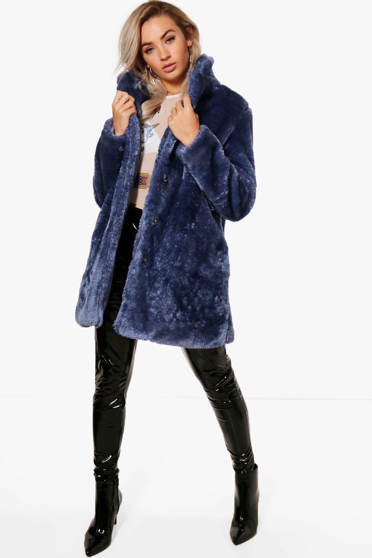 Rebecca Collared Faux Fur Coat Boohoo