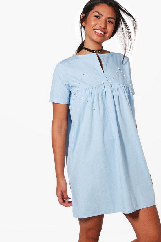Clarissa Pearl Detail Woven Smock Dress