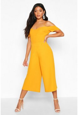 Womens Mustard Off The Shoulder Culotte Jumpsuit