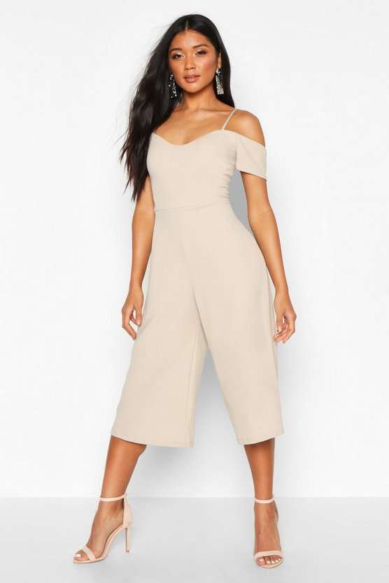 Stone Off The Shoulder Culotte Jumpsuit