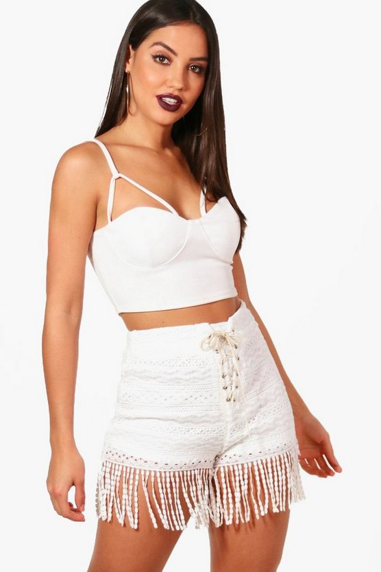 Jean Lace Up Tassel Trim Crochet Shorts