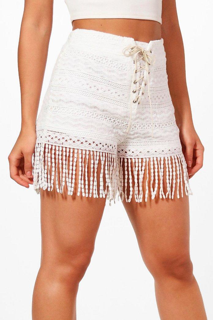 Jean Lace Up Tassel Trim Crochet Shorts Boohoo