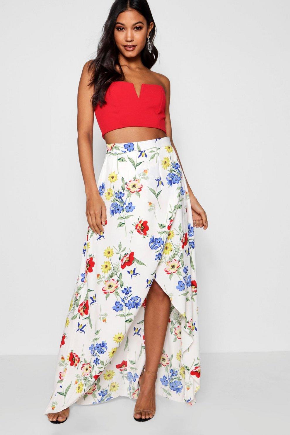 9e73b71b29b9 Azalea Floral Wrap Front Maxi Skirt | Boohoo