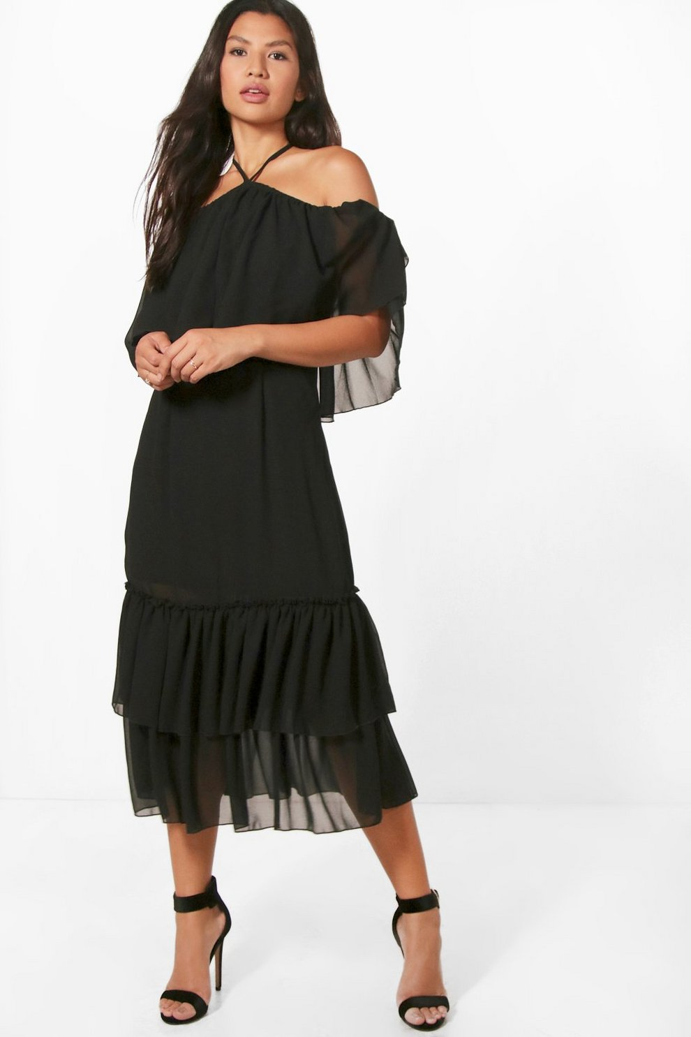 885da13560f4 Grace Chiffon Frill Off Shoulder Midi Dress