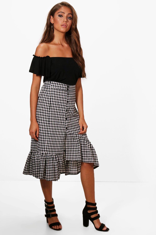 Daisy Ruffle Front Gingham Midi Skirt