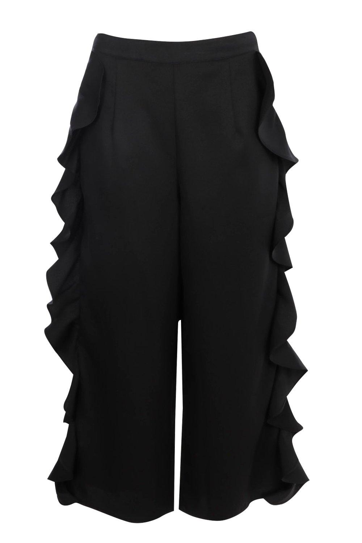 black Side Leg Wide Woven Culottes Ruffle aXpZqdwZ