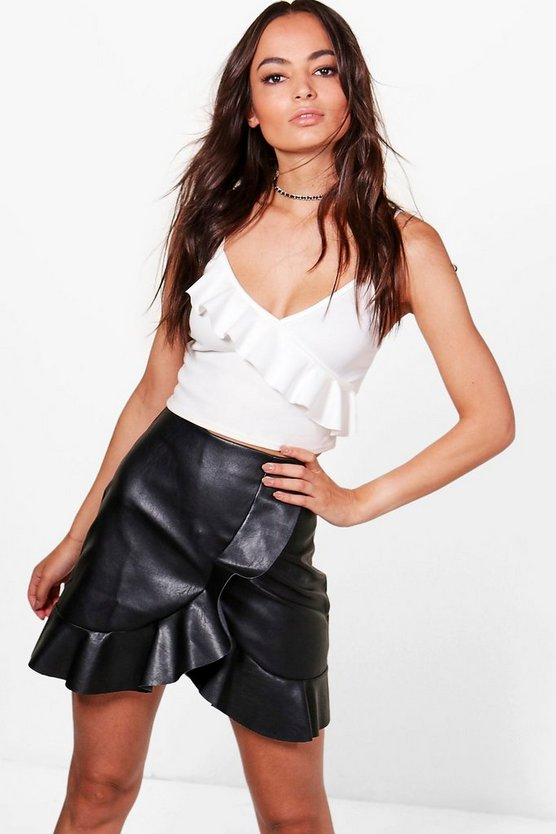 Arlo Ruffle Hem Wrap Front Leather Look Skirt