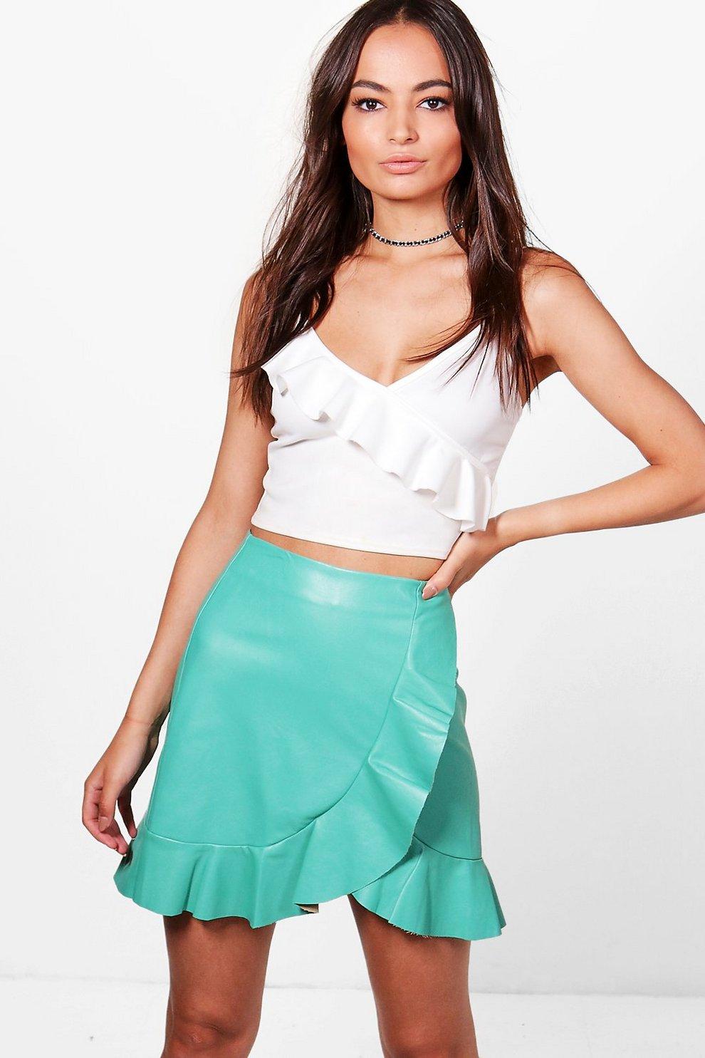 98da62ce2 Arlo Ruffle Hem Wrap Front Leather Look Skirt | Boohoo