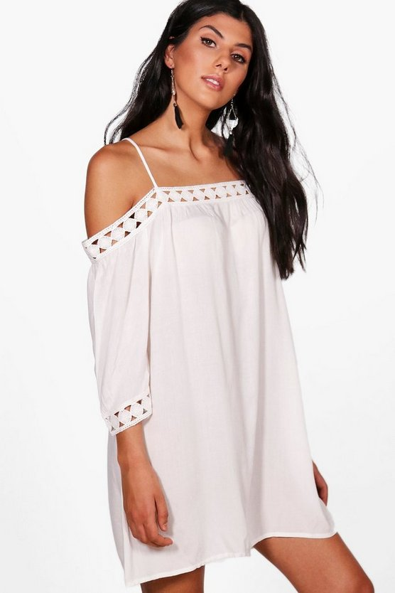 Maisie Lace Trim Off The Shoulder Shift Dress
