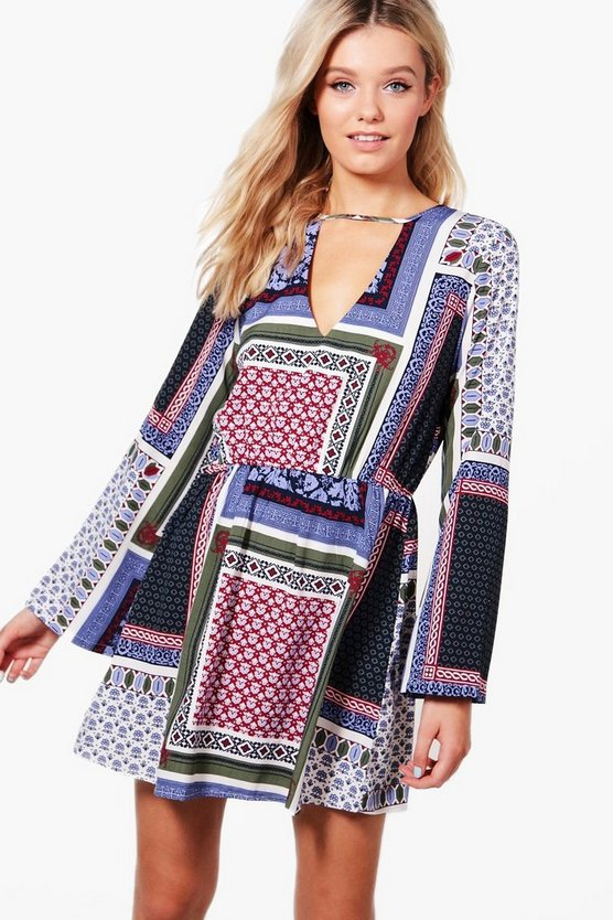 Paulina Scarf Print Skater Dress