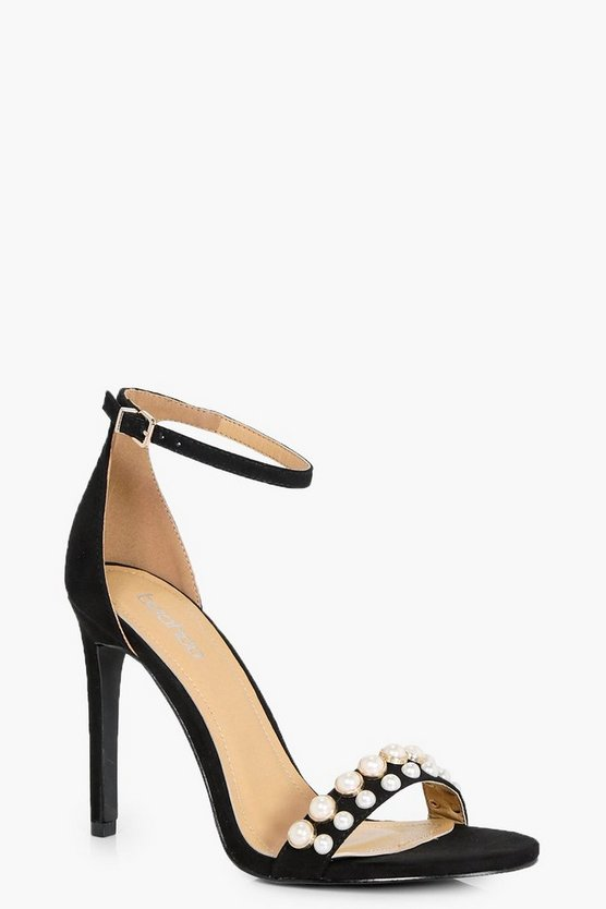 Megan Pearl Detail Front Strap Two Part Heels