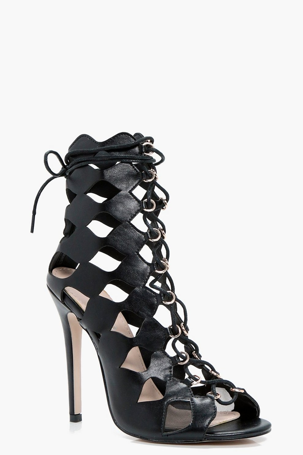 d4d0f7e331805 Zoe Cage Ghillie Lace Up Heels | Boohoo