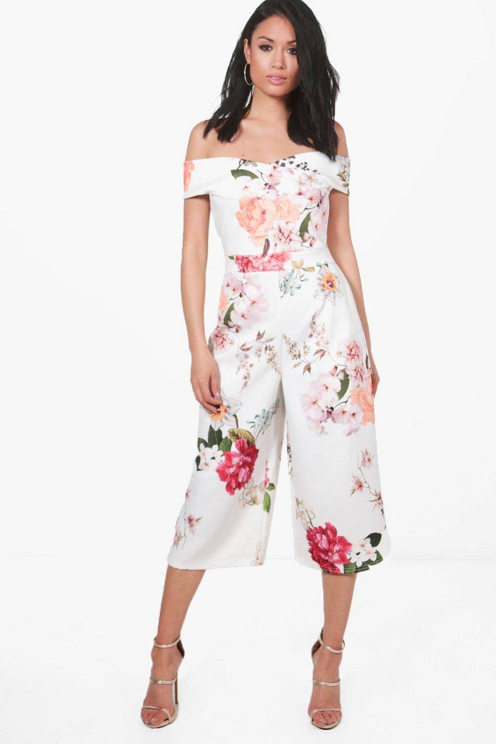 4f489b12b17 Mona Bardot Floral Culotte Jumpsuit