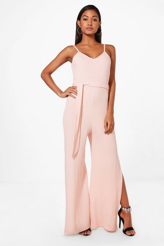 Penny Strap Belted Wide Leg Jumpsuit