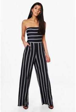 Womens Navy Striped Bandeau Bow Back Jumpsuit