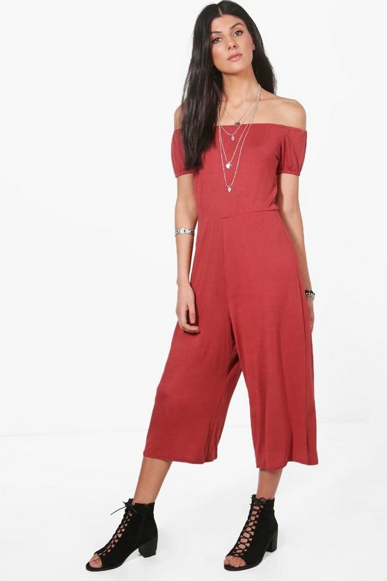 Off Shoulder Jersey Culotte Jumpsuit