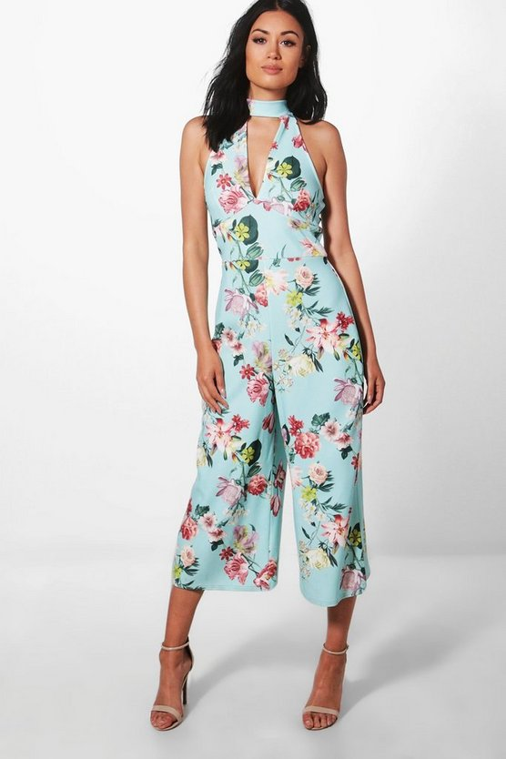 Ria High Neck Floral Culotte Jumpsuit