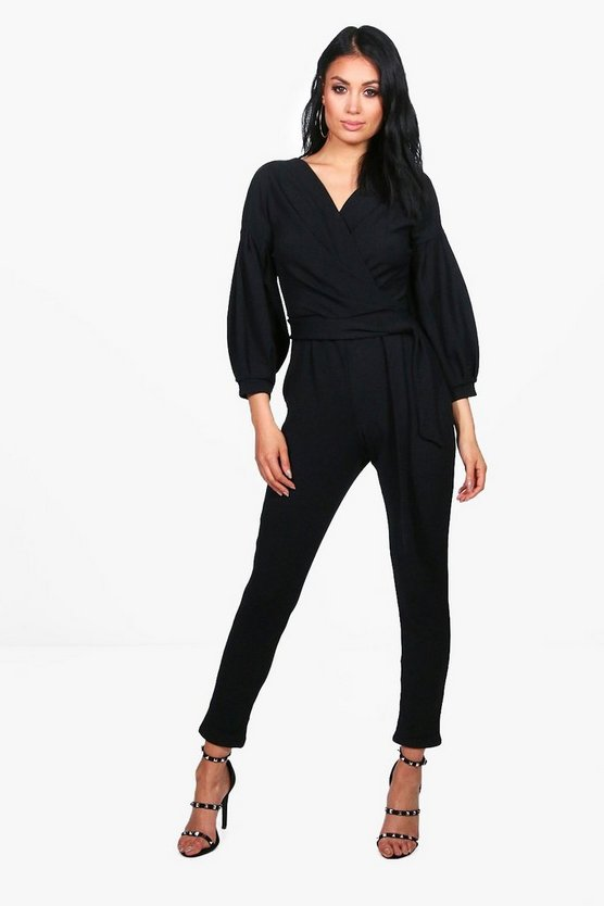 Exaggerated Sleeve Structured Jumpsuit