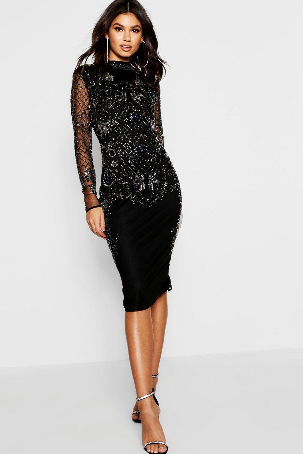 df93e5413a Boutique Embellished Midi Dress   Boohoo