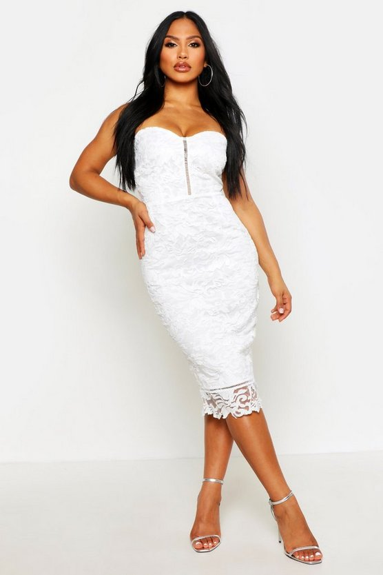 Womens Ivory Boutique Embroidered Organza Midi Dress