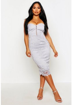 Womens Silver Boutique Embroidered Organza Midi Dress