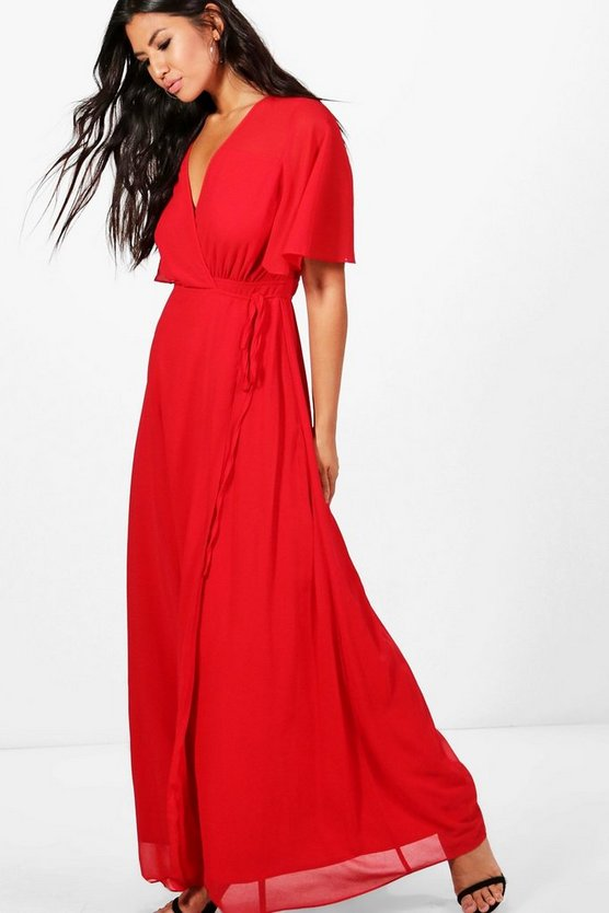 Womens Red Chiffon Angel Sleeve Maxi Dress