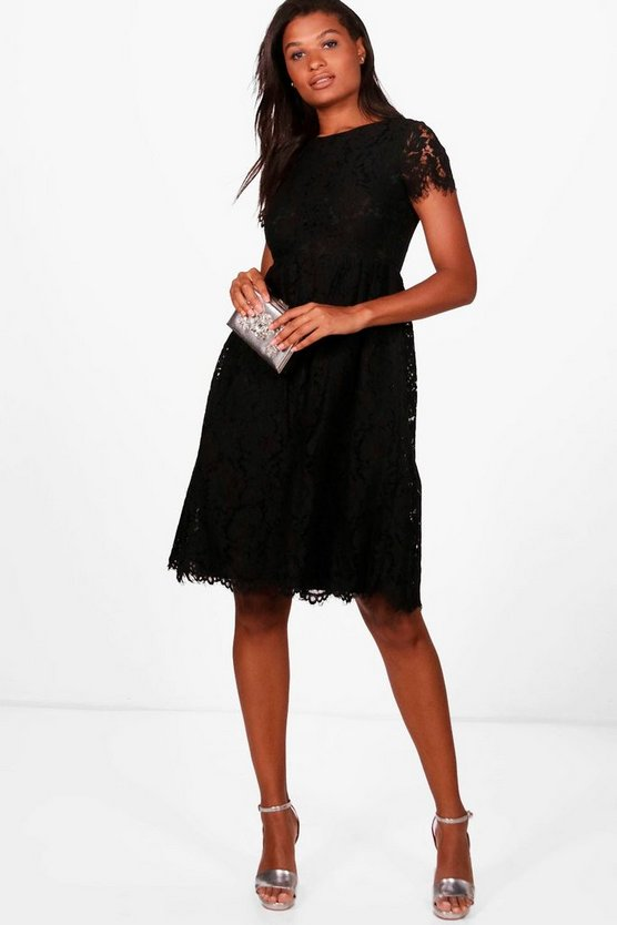 Boutique Eyelash Lace Midi Skater Dress