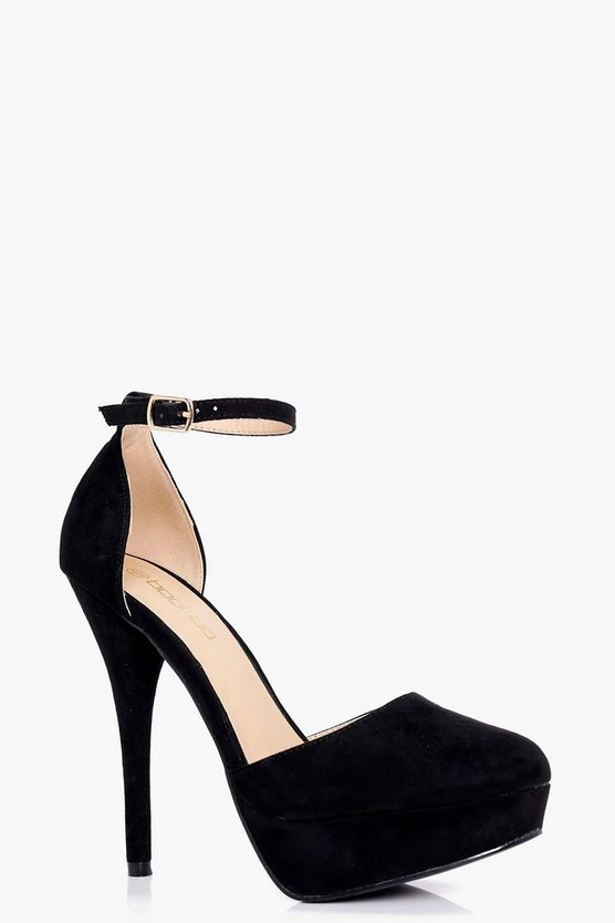 Womens Black Close Round Toe Platform Heels