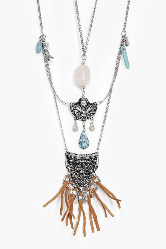 Nia Turq Stone And Tassel Layered Necklace