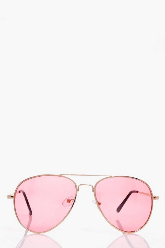 Pale Pink Lens Aviator Sunglasses
