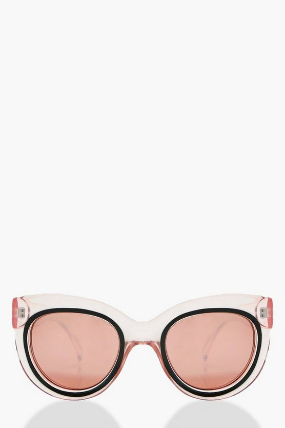 Maisie Clear Pink Oversized Sunglasses
