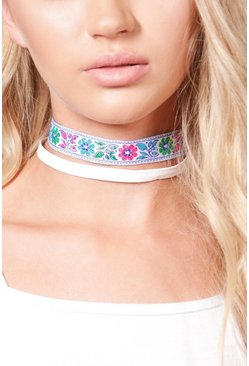Womens White Lilly PU & Embroidered Multi Choker