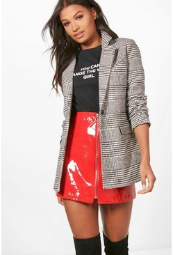 Womens Black Check Wool Look Blazer Coat