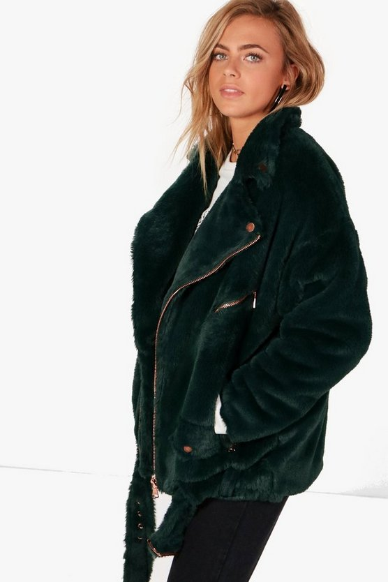 Olivia Boutique Faux Fur Aviator Jacket