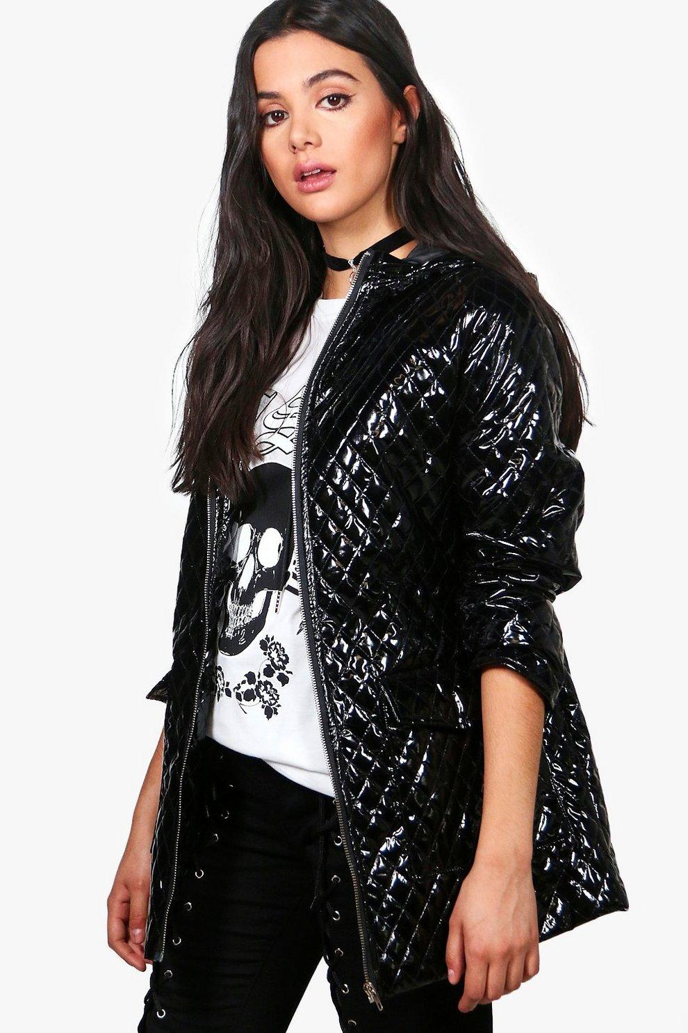 Jasmine Metallic Quilted Rain Coat