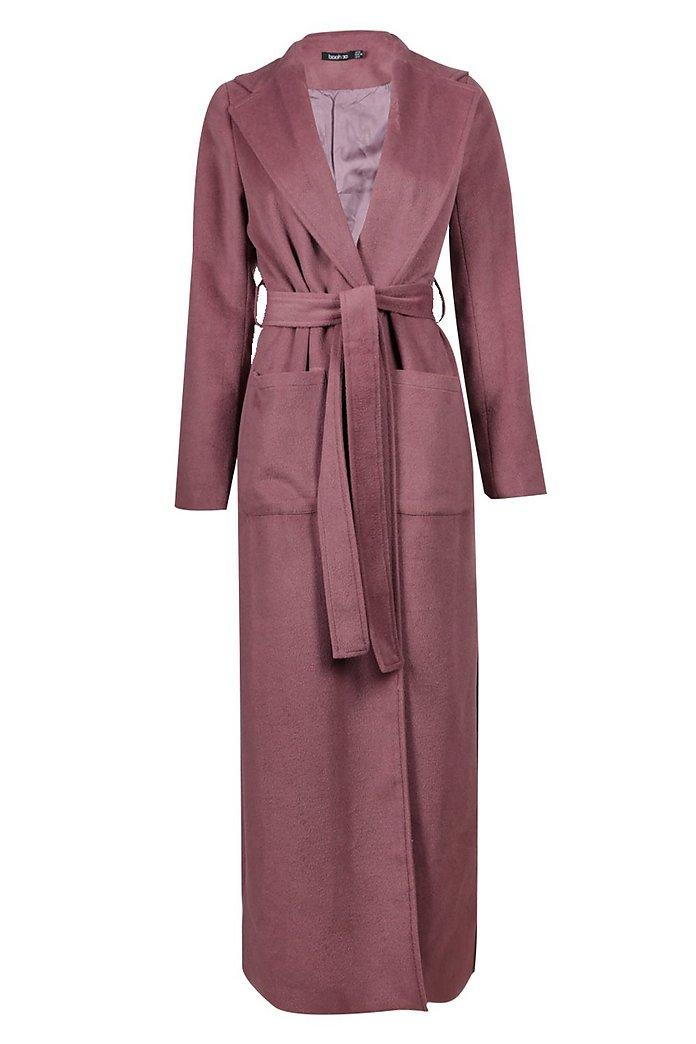 Maxi cappotto stile vestaglia a portafoglio | boohoo